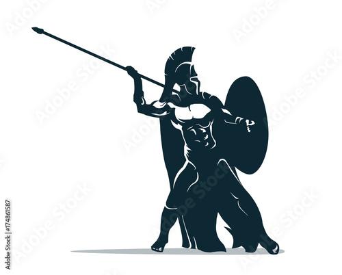 Fototapeta Spartan warrior stylized illustration. Warrior throws javelin.