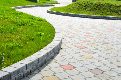 Canvas Print Curved Garden Stone Path Pesperctive View