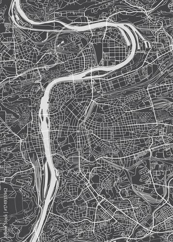 Wallpaper Mural Prague city plan, detailed vector map