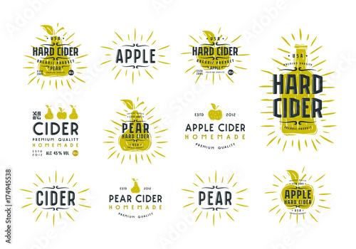 Fotografie, Tablou Set of hard cider label and logo