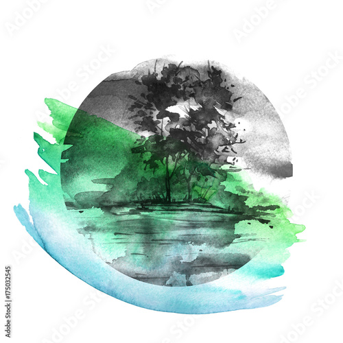 Akwarela malarstwo ekologiczne, logo. Akwarela zielony i czarny krajobraz, brzeg rzeki, jezioro, z drzewami. Czarna plama, plusk farby. Zanieczyszczenie środowiska. W kolistym elemencie.