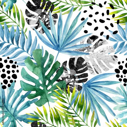 Plakat Tropikalne tło - malowidło akwarelowe