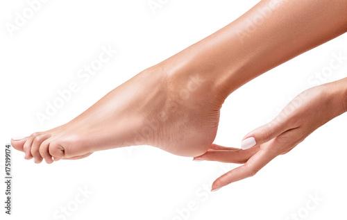 Perfect female feet. Hand touches elegant leg.
