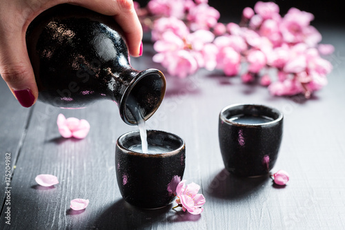 Ready to drink sake with flowers of blooming cherry
