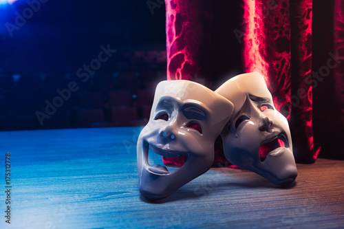 Canvas Print Theater masks, drama and comedy with a red curtain / 3D Rendering, Mixed media