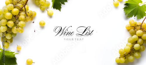 wine list background; sweet white grapes and leaf
