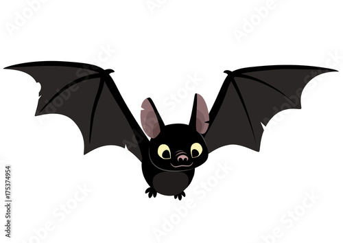 Foto Vector cartoon illustration of cute friendly black bat character, flying with wings spread, in flat contemporary style isolated on white