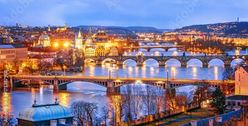 Wallpaper Mural Classic view of Prague at Twilight, panorama of Bridges on Vltava, view from above, beautiful bridges vista