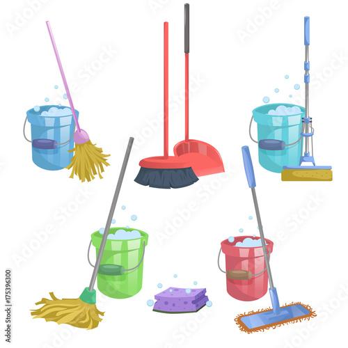 Obraz na płótnie Cartoon house and apartment cleaning service icon set