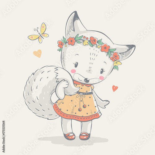 Cute little fox in blue dress cartoon hand drawn vector illustration. Can be used for baby t-shirt print, fashion print design, kids wear, shower celebration greeting and invitation card.