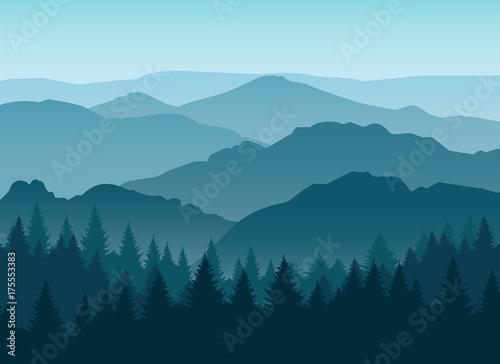 Obraz na płótnie Vector misty or smokey blue mountain silhouettes background