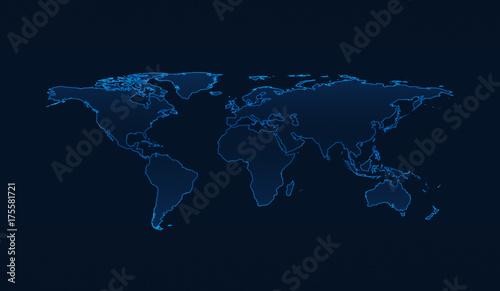 Naklejka na szafę Jasnoniebieska mapa świata na ciemnym niebieskim tle
