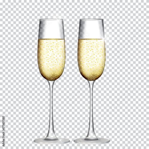 Canvas Print Two Glass of Champagne Isolated on Transparent Background