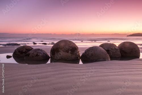 Fotografia Moeraki Boulders at pink sunrise