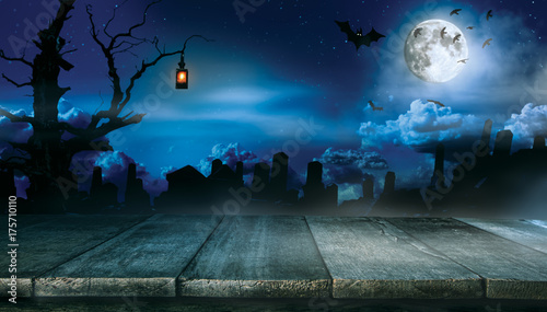 Spooky halloween background with empty wooden planks