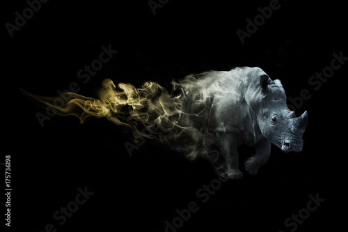 Wallpaper Mural digital art image of a rhino with amazing photoshop effect