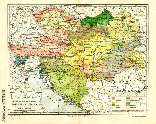 Stampa su Tela Ethnographic map of Austria-Hungary (from Meyers Lexikon, 1896, 13/288/289)