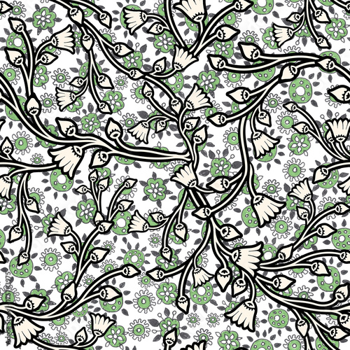Ręcznie Ręcznie Ciągniony Kwiatowy Wzór Bez Szwu Do Projektowania Powierzchni, Papier Do Owijania, Tkanina, Tło. Wysoka Rozdzielczość Bezszwowa Struktura