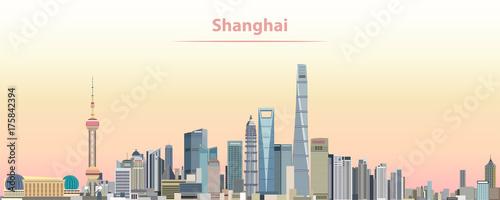Fototapeta premium ilustracji wektorowych panoramę miasta Szanghaj o wschodzie słońca