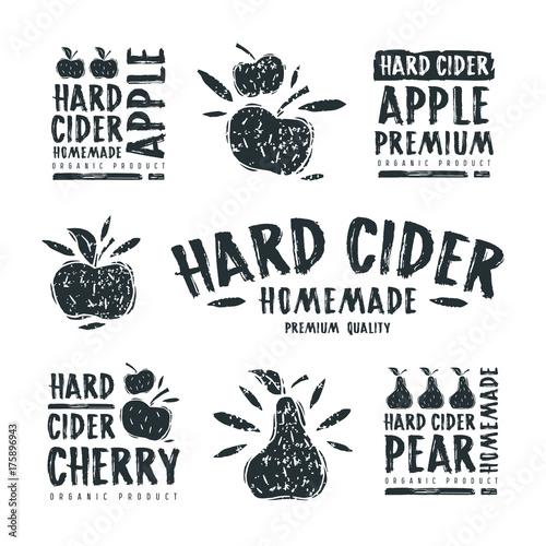 Set of hard cider label and logo Fototapeta