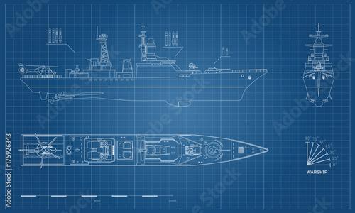 Canvas Print Blueprint of military ship