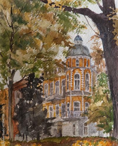 Akwarela na papierze, nowoczesne dzieła sztuki, europejskie miasto, koncepcja akwarela. Koncepcja architektury