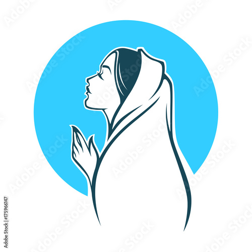 vector portrait of Virgin Mary for your logo, label, emblem Fototapeta