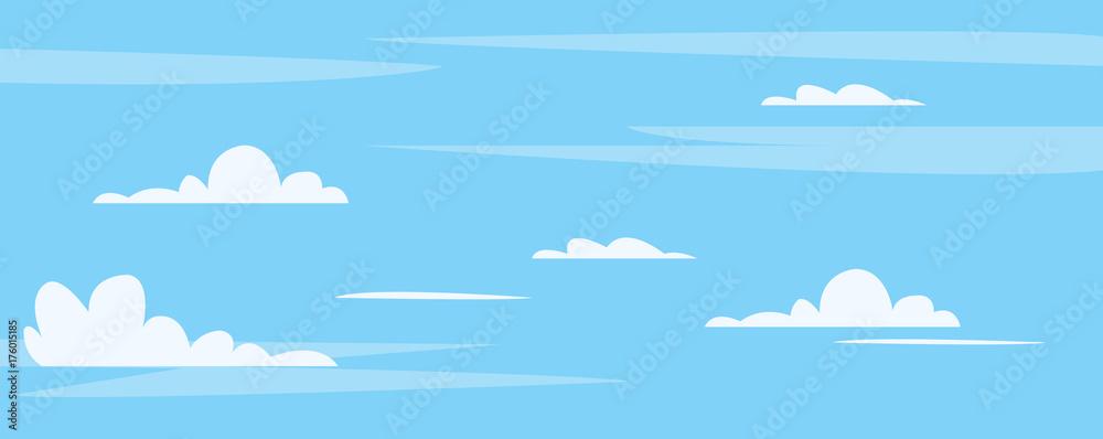 Piękne błękitne niebo z cute chmury tle ilustracji wektorowych. Czyste niebo w środku dnia. <span>plik: #176015185 | autor: vvadyab</span>