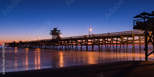 Wood Pier at Sunset blue hour