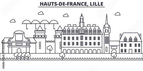 Fotografia France, Lille architecture line skyline illustration