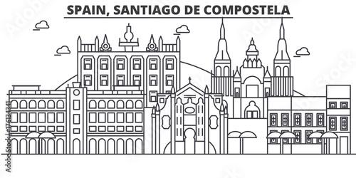 Canvas Print Spain, Santiago De Compostela architecture line skyline illustration