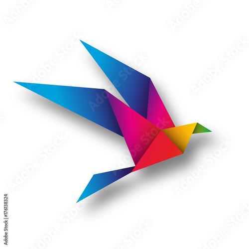 ptak origami wektor