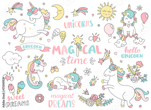 Set of unicorns and different magic elements with some lettering Fototapeta
