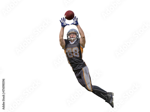 Canvas Print American football player catching ball isolated