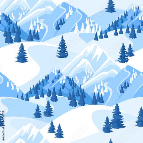 Plakat z zimowym, górskim wzorem