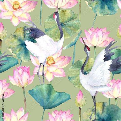 Fototapeta Z żurawiem i kwiatem lotosu malowana