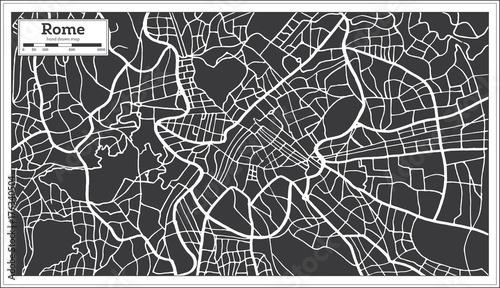 Fotografie, Obraz Rome Map in Retro Style. Hand Drawn.