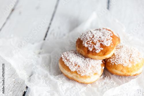 Deep-fried doughnuts filled with coconut custard cream Fototapeta