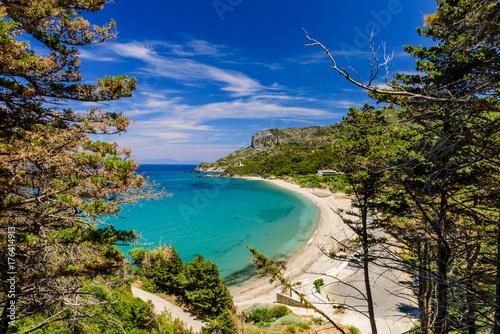The scenic Potami beach, a popular destination on the Greek island of Samos, Greece