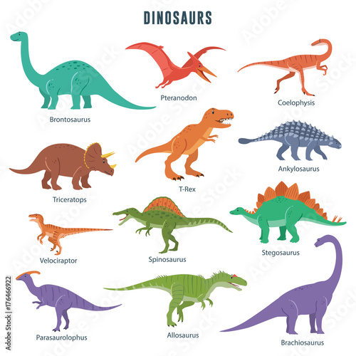 Wallpaper Mural Set of dinosaurs including T-rex, Brontosaurus, Triceratops, Velociraptor, Pteranodon, Allosaurus, etc
