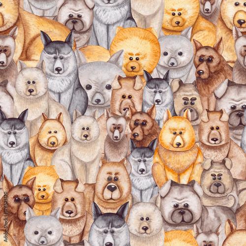 Zabawny wzór z akwarela małe psy