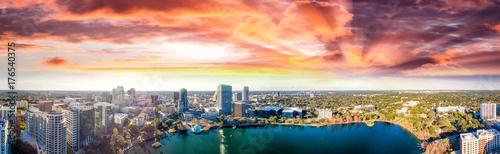 Panoramic aerial view of Lake Eola and surrounding buildings, Orlando - Florida