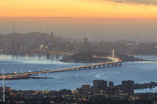 Stampa su Tela Dusk over San Francisco