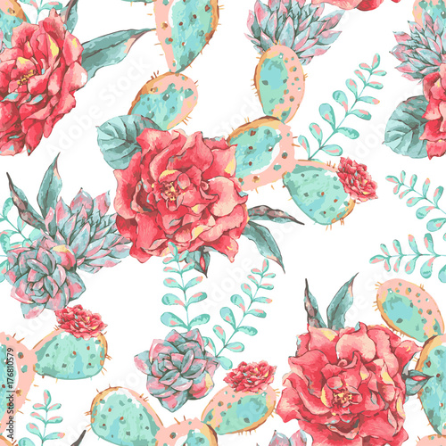 Vintage seamless pattern with blooming flowers