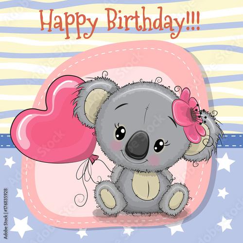Greeting card Koala girl with balloon