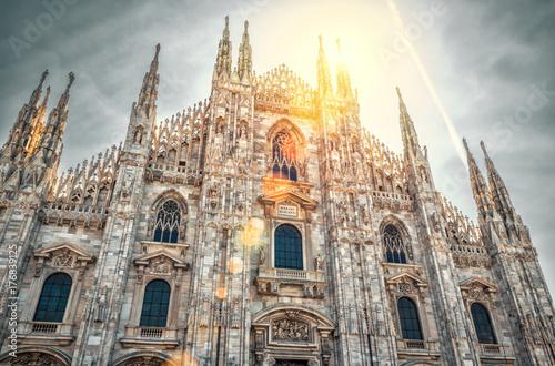 Fotografie, Obraz Milan Cathedral (Duomo di Milano) on sunny sky background, Italy