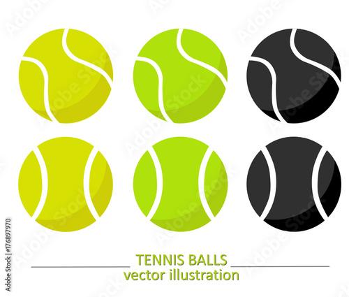 Canvas Print Set of yellow, green and black tennis balls