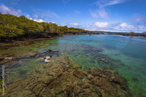 Galapagos Islands - August 25, 2017: Concha Perla Lagoon in Isabela Island, Gala Poster Mural XXL