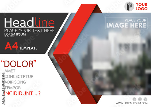 Fotografia Red and black flyer cover business brochure vector design, Leaflet advertising abstract background, Modern poster magazine layout template, Horizontal annual report for presentation