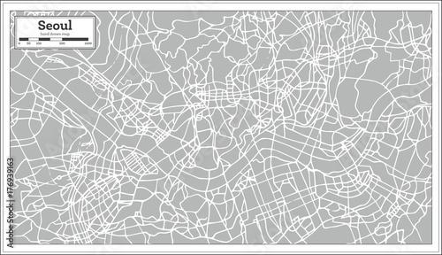 Fotografie, Obraz Seoul Map in Retro Style. Hand Drawn.